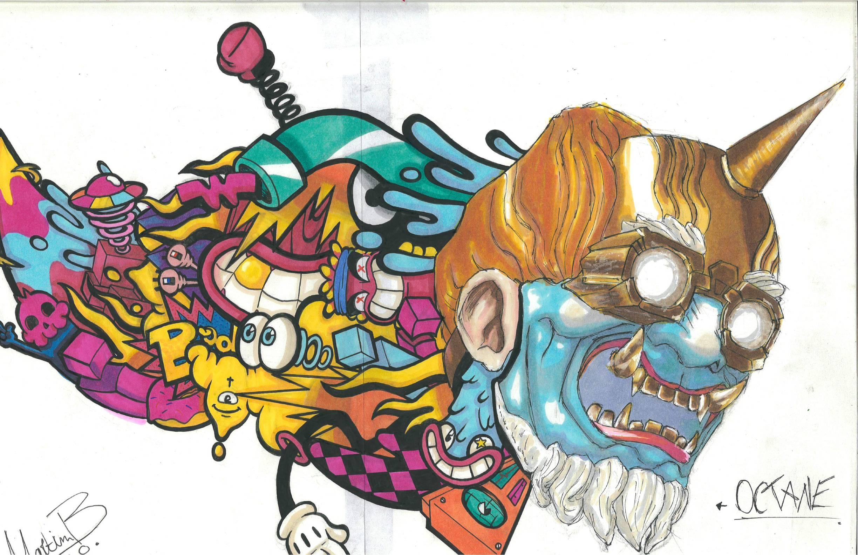 drawing in street art style