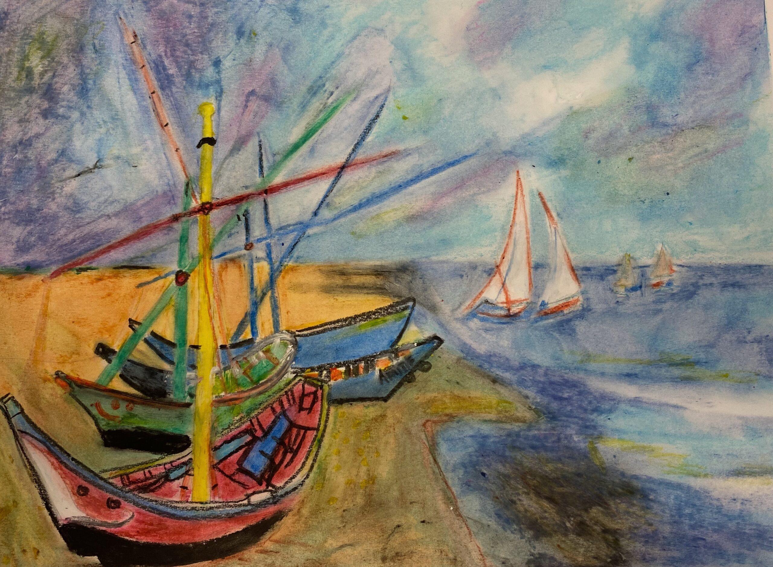 sailboats watercolor and pastels