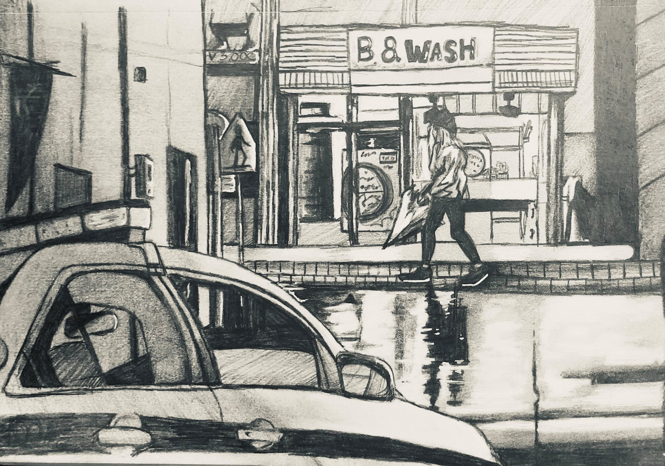 sketch street view charcoal