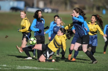 Groby Community College v Maiden Erlegh School in a English Schools Football Association Under 16 Premier League Girls Cup Quarter Final match at Brookvale Groby Learning Campus on Monday 28th January 2019 (c) Garry Griffiths | ThreeFiveThree Photography