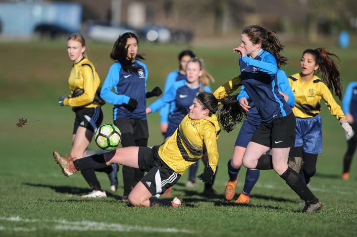 Groby Community College v Maiden Erlegh School in a English Schools Football Association Under 16 Premier League Girls Cup Quarter Final match at Brookvale Groby Learning Campus on Monday 28th January 2019 (c) Garry Griffiths   ThreeFiveThree Photography
