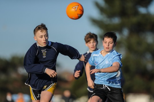 Hanham Woods Academy v Kennet School in a English Schools Football Association Under 13 Boys Schools Cup Round 7 match at Hanham Woods Academy on Thursday 14th February 2019 (c) Garry Griffiths | ThreeFiveThree Photography