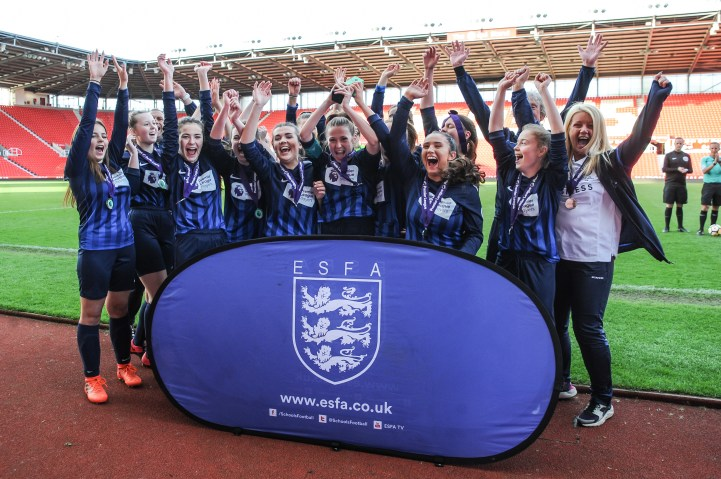 St Ivo School v Cramlington Learning Village in a English Schools Football Association Premier League Under 16 Schools Cup for Girls Final at bet365 Stadium on Thursday 10th May 2018 (c) Garry Griffiths | ThreeFiveThree Photography