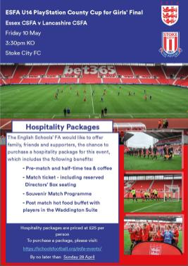 U14 County Cup for Girls Hospitality Ad
