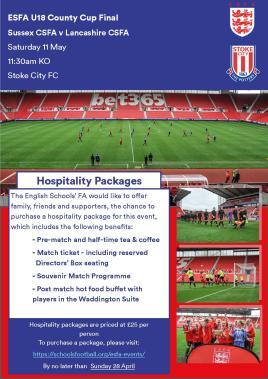 U18 County Cup Final Hospitality Ad