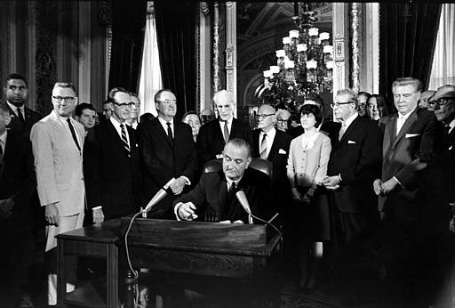 President JOhnson signing the Voting Rights Act of 1965