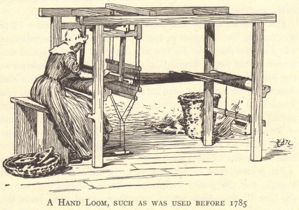 Pre-mechanisation. Hand Loom that is typical of machines before the Industrial Revolution