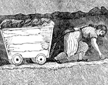 Woman miner. A dangerous job for women during the Industrial Revolution
