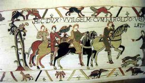 Normans. Exceprt from the Bayeux Tapestry showing the pastime of Hawking