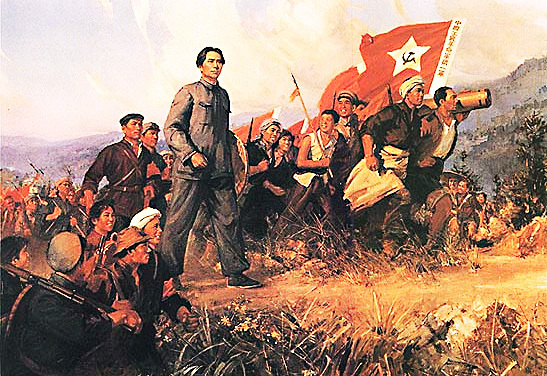 Poster illustrating Mao leading the Long March