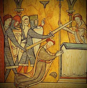 Becket being murdered in Canterbury Cathedral