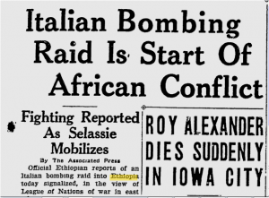 Newspaper Report of the Abyssinian Crisis