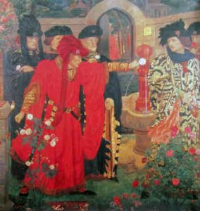 War of the Roses. Depiction of scene in Shakespeare's Henry VI Part 1 in which people choose sides