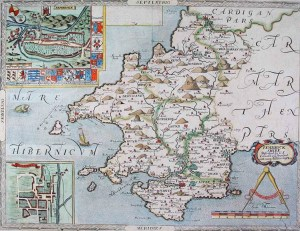 1578 Map of Pembrokeshire. Showing Milford Haven, the deep port at which Henry Tudor landed his invasion force in 1485.