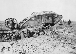 British Mark I tank on the Somme in 1916