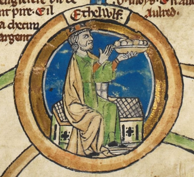 English: Miniature of King Æthelwulf of Wessex in the Genealogical roll of the kings of England