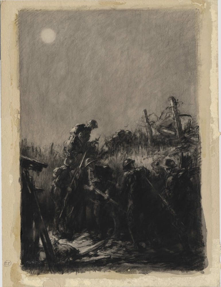 Night Raid. Artwork depicting men setting out on a Trench Raid.