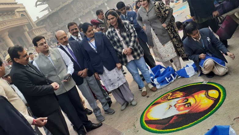 Sakshi Jangra Student of Rockford Convent Gets First Prize in Rangoli Competition