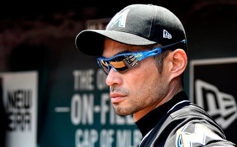 Jul 6, 2017; St. Louis, MO, USA; Miami Marlins right fielder Ichiro Suzuki (51) looks on from the dugout during the fourth inning against the St. Louis Cardinals at Busch Stadium. Mandatory Credit: Jeff Curry-USA TODAY Sports