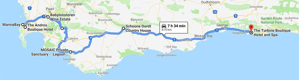 Schoone Oordt Traditional Route (16 nights) from Cape Town, through the Winelands, along the Whale Coast and Garden Route