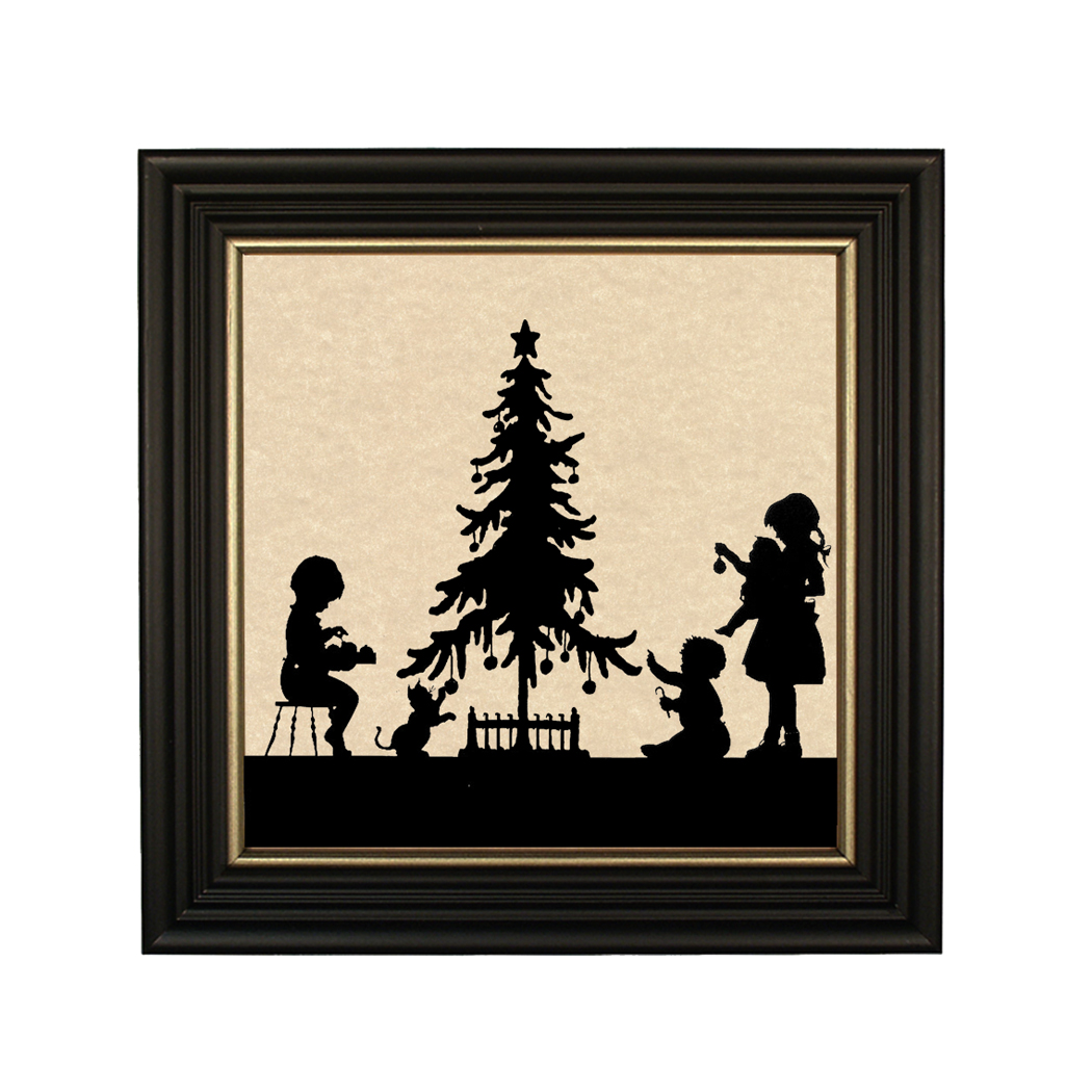 Christmas Time Framed Paper Cut Silhouette In Black Wood