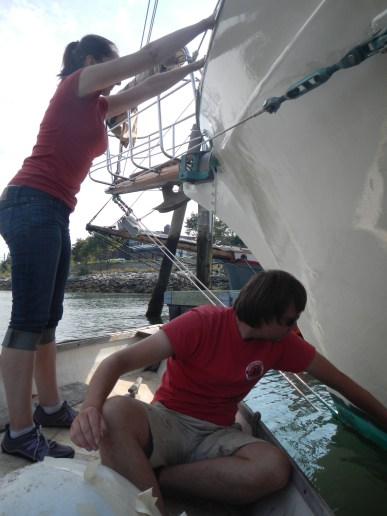 Painting the hull, Rockland