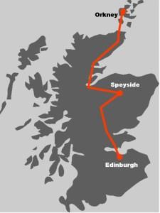 Hier finden Sie die Route unserer Whiksyreise Whiskys des Nordens.