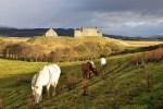 Auf dem Rueckweg unserer Bahnreisen durch Schottland fahren wir durch die Landschaft der Central Highlands.