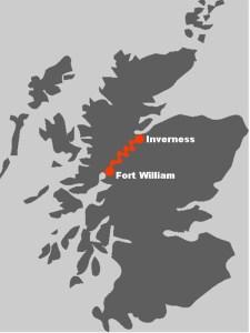 Die Route des Great Glen Way fuehrt den ganzen Weg von Fort William bis nach Inverness.