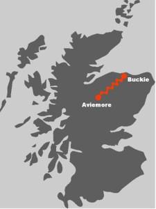 Die Karte zeigt Ihnen, wo die Wanderreise auf dem Speyside Way hinfuehrt.