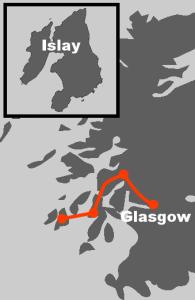 Hier finden Sie die Route unserer Whiskyreise auf die Insel Islay.