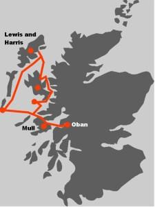Werfen Sie einen Blick auf die Karte unserer Segelreise auf die Aeusseren Hebriden.