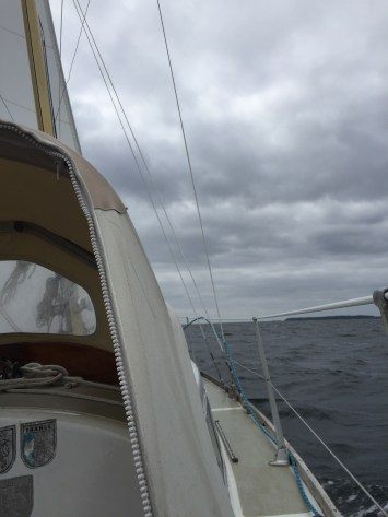 The weather is pretty gloomy. Sailing towards the island of Brands.