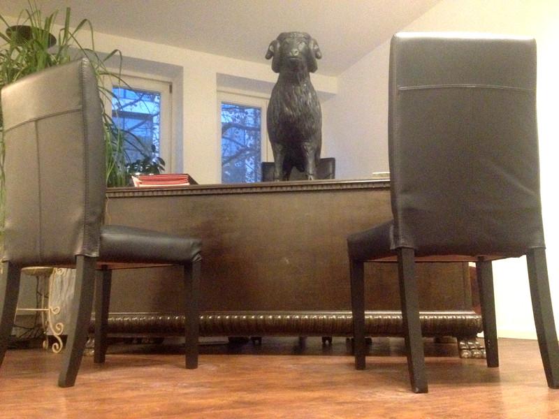 Hier auf dem Schreibtisch, üblicherweise aber daneben: Mein schwarzes Schaf