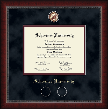 Masterpiece Medallion Diploma Frame in Sutton with Black Suede/Maroon mats