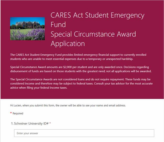 Special Circumstance Award Form