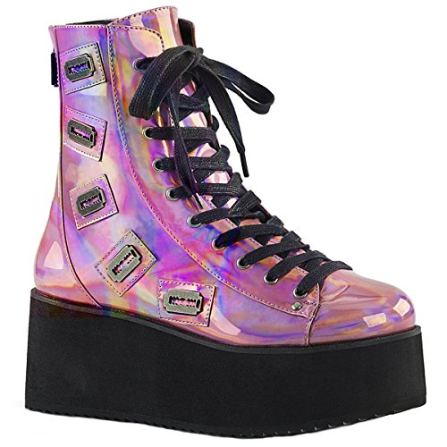 Demonia Gothic Lolita Ankle Boots Grip-103 Pink Holo Gr.40