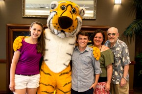 Grace, Truman the Tiger, Ryan, Melanie and Jack at the picnic for the Summer undergraduate research programme 2014