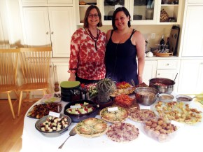 Lab dinner, June 2014: Heidi and Melanie with the French buffet