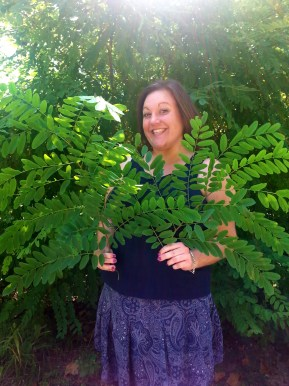 Melanie in the field (Hinkson creek, Columbia MO) with insect leaf-mines on Black Locust
