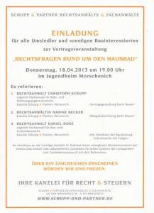 Einladung zur Veranstaltung 18.04.2013