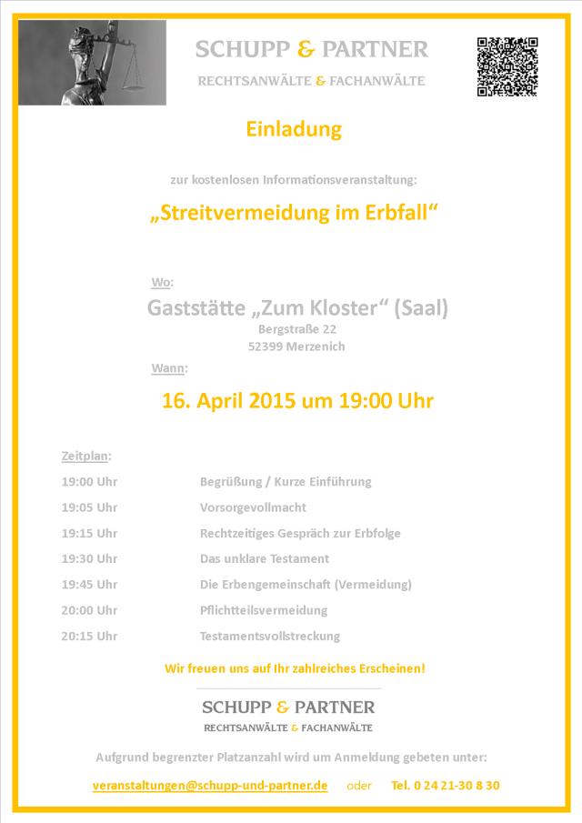 Einladung Veranstaltung Erbrecht 4-2015 - Merzenich