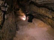 Kopateľný koniec jaskyne 1500 m od vchodu