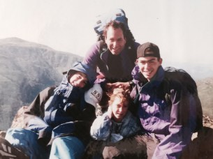 Dad, my brothers, and I climbing the whites.