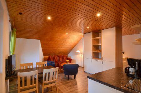 1-Raum Apartment mit abgetrenntem Doppelbett