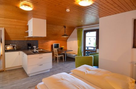 Wohnraum mit Doppelbett, Essecke und Küchenzeile