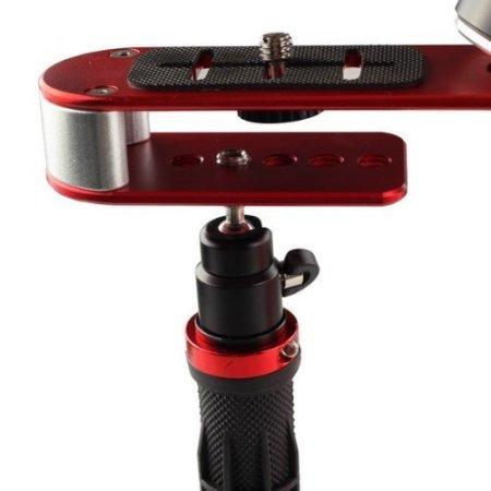 AFUNTA Pro Handheld-Kamera-Stabilisierungs-Steady, Perfekt für GoPro, Kanone, Nikon oder einer DSLR-Kamera bis zu 0,95 KG Mit reibungslosen Pro Dauer Glide Cam - Rot + Silber + Schwarz -