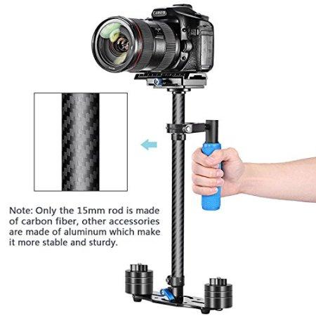 """Neewer® Kohlefaser 24 """"/ 60cm Hand Stabilisator mit Schnellwechselplatte 1/4"""" und 3/8 """"Schraube für DSLR und Videokameras bis zu 6,6 Pfund / 3 kg -"""