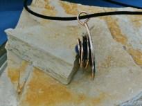 pendant stainless steel, bronze, brass, epoxym pigment, Sodalite, 2in diameter - 9