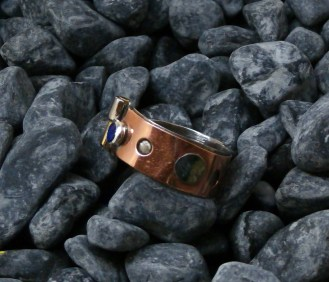 ring stainless steel, copper, tin, brass, blue Spinel 5mm size 11.5 -10